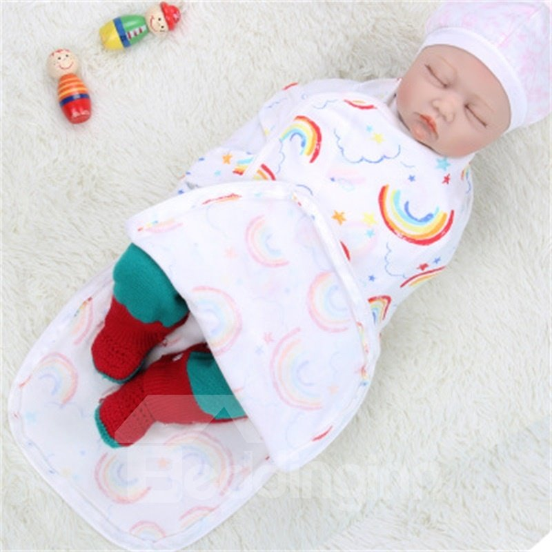 Zipper Rainbows Printed Cotton 1-Piece White Baby Sleeping Bag