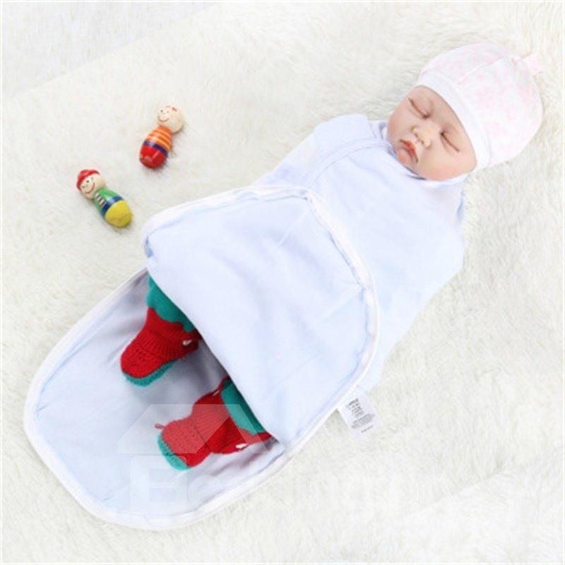 Zipper Cotton 1-Piece Light Blue Baby Sleeping Bag