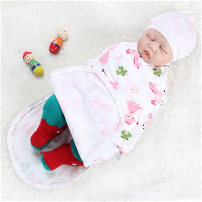 Zipper Unicorns and Princess Printed Cotton 1-Piece White Baby Sleeping Bag