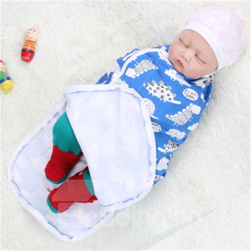 Zipper Turtles Printed Cotton 1-Piece Blue Baby Sleeping Bag