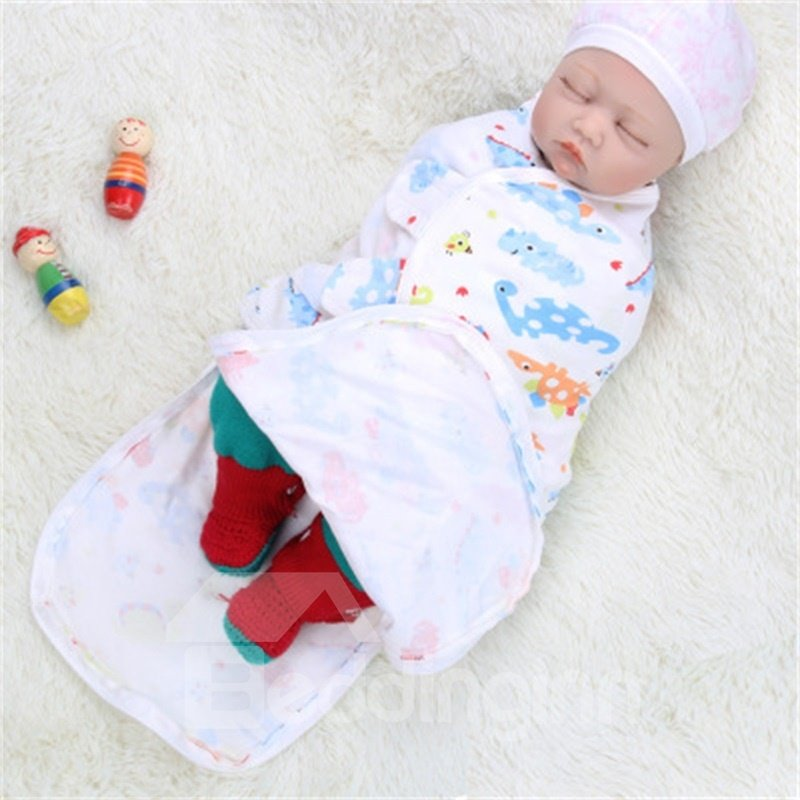 Zipper Turtles Printed Cotton 1-Piece White Baby Sleeping Bag