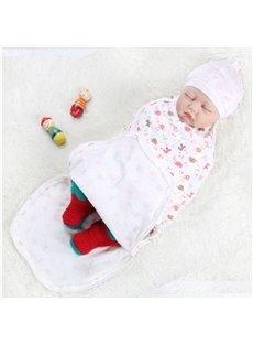 Zipper Cartoon Animals Printed Cotton 1-Piece White Baby Sleeping Bag