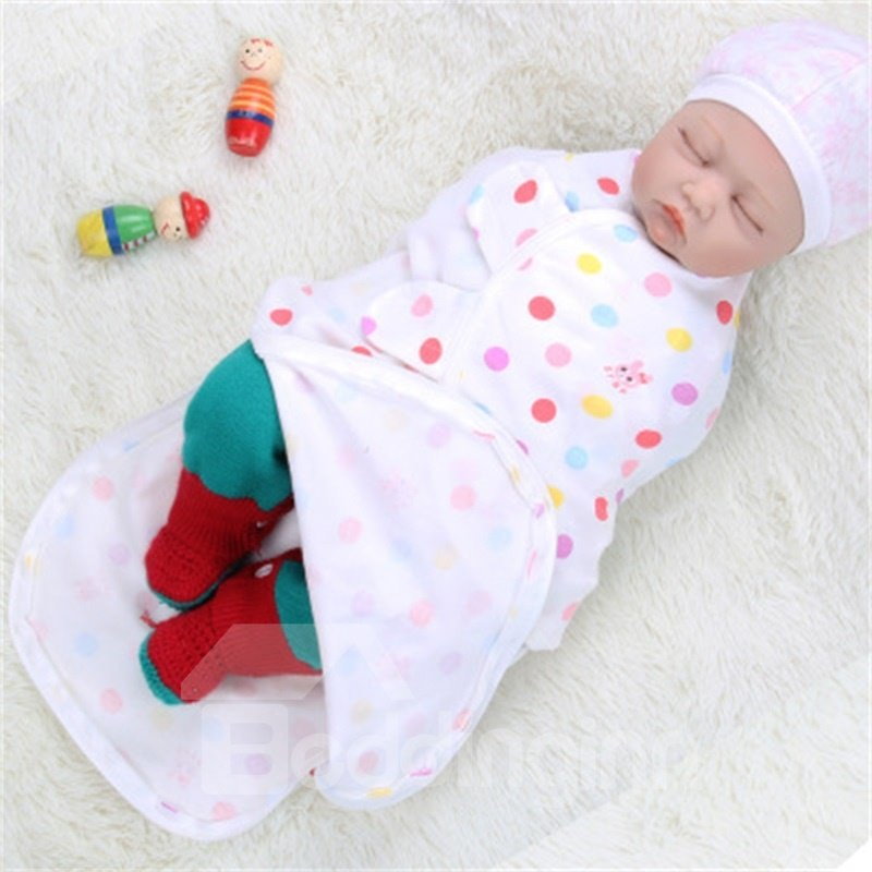 Zipper Polka Dots Printed Cotton 1-Piece White Baby Sleeping Bag