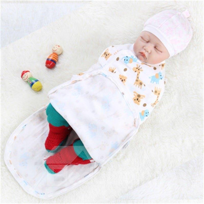 Zipper Giraffes Printed Cotton 1-Piece White Baby Sleeping Bag
