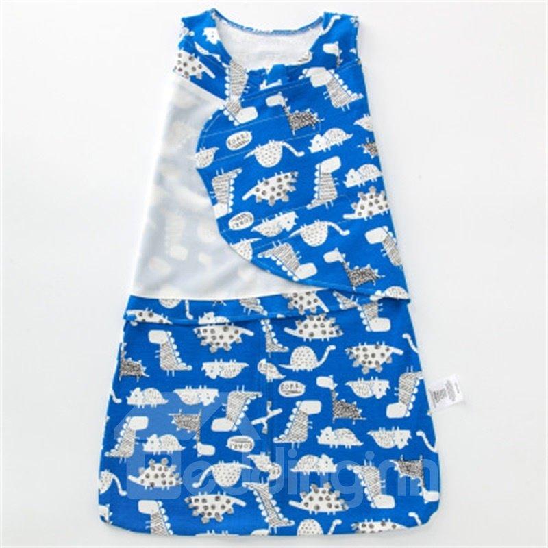 Cartoon Turtles Printed Cotton 1-Piece Blue Baby Sleeping Bag