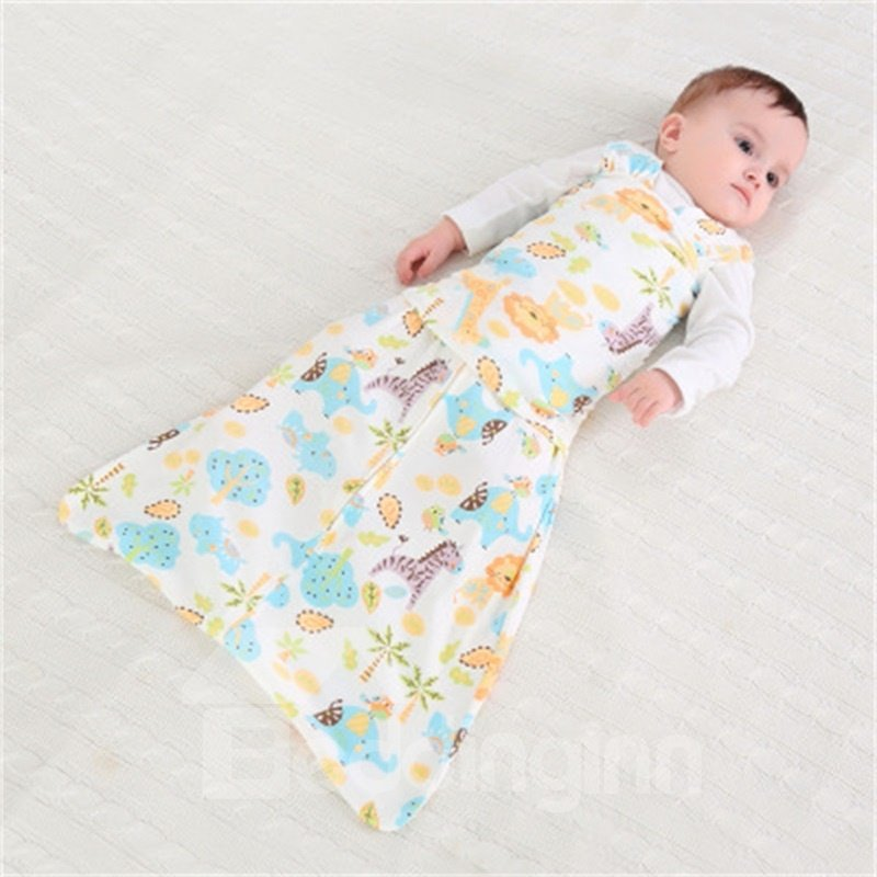 Lions and Plants Printed Cotton 1-Piece White Baby Sleeping Bag