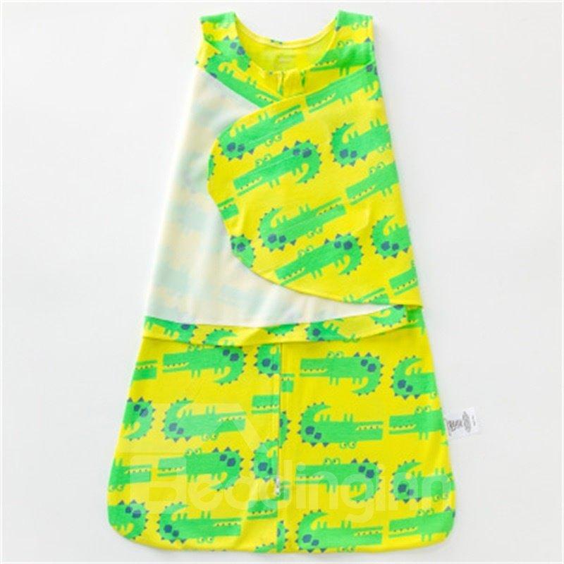 Green Crocodiles Printed Cotton 1-Piece Yellow Baby Sleeping Bag