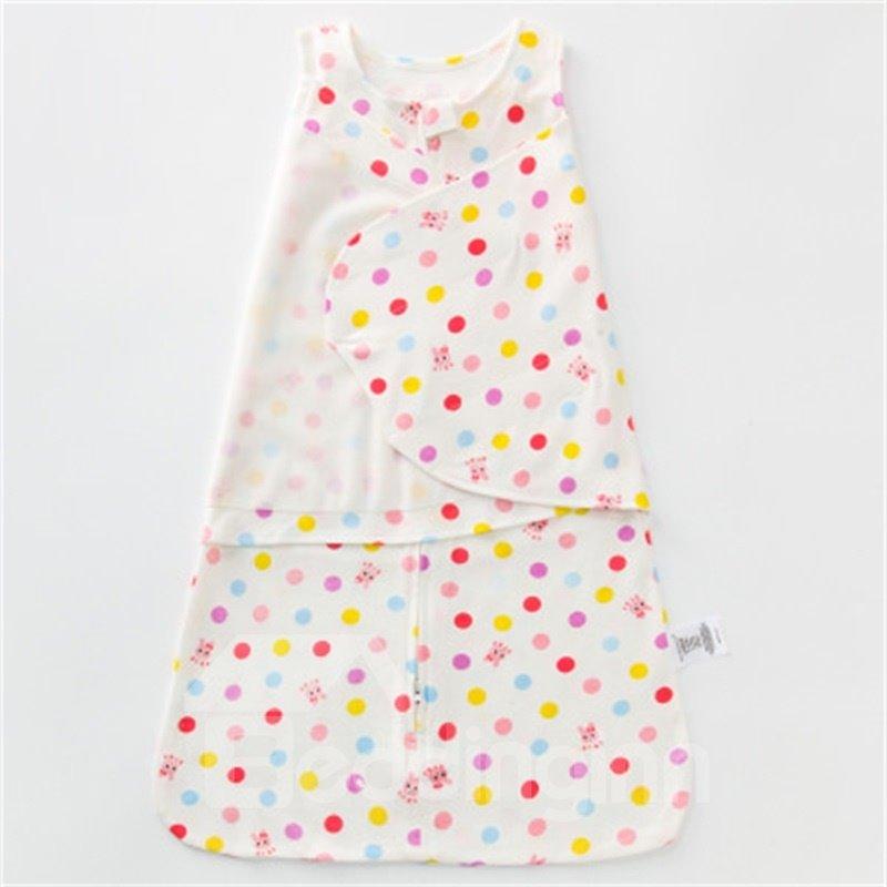 Polka Dots Printed Cotton 1-Piece White Baby Sleeping Bag