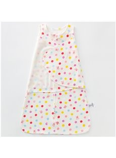 Polka Dots Printed Cotton 1-Piece White Baby Sleeping Bag