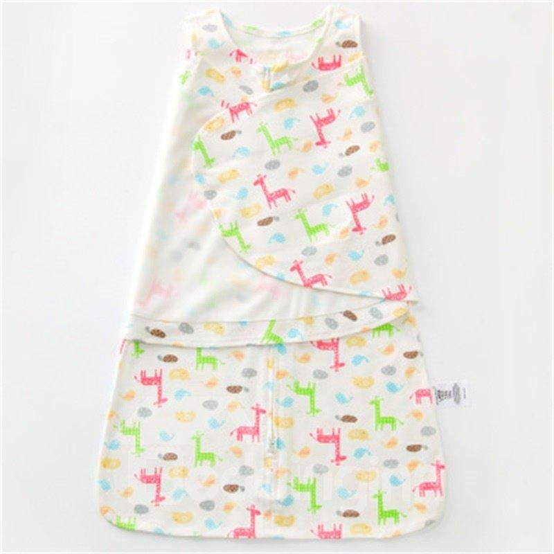 Giraffes Printed Cotton 1-Piece White Baby Sleeping Bag