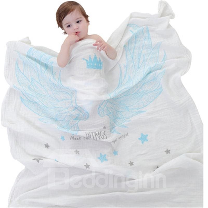 Blue Angle Wings Printed Cotton Nordic Style White Baby Blanket