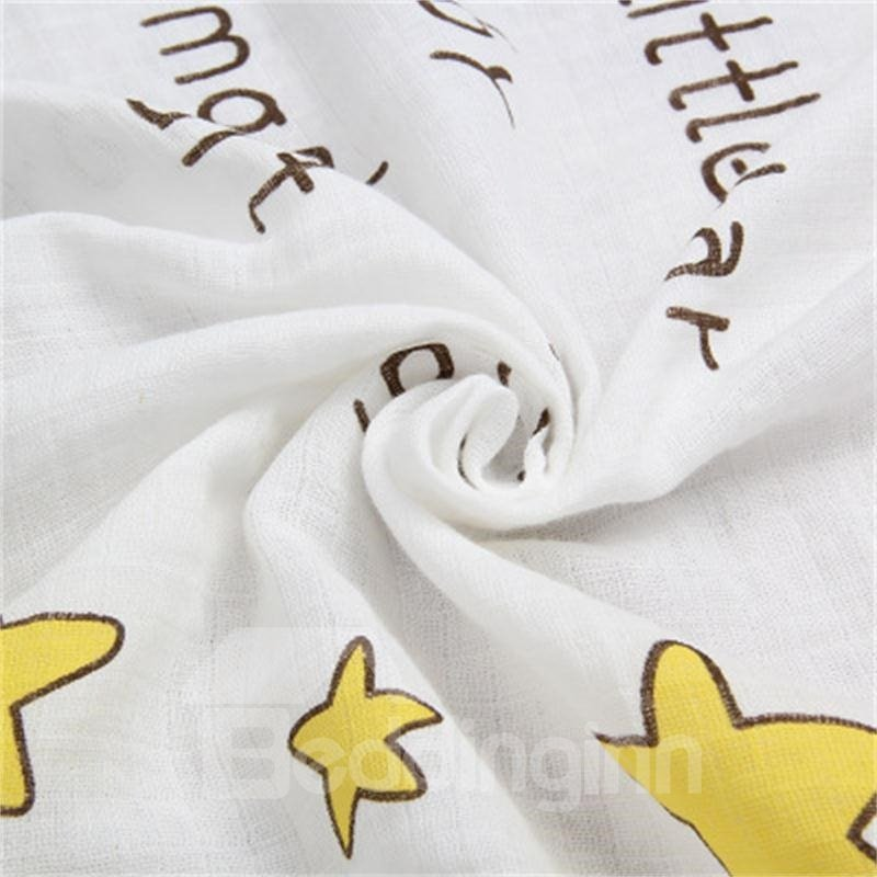 Crown and Stars Printed Cotton Nordic Style White Baby Blanket