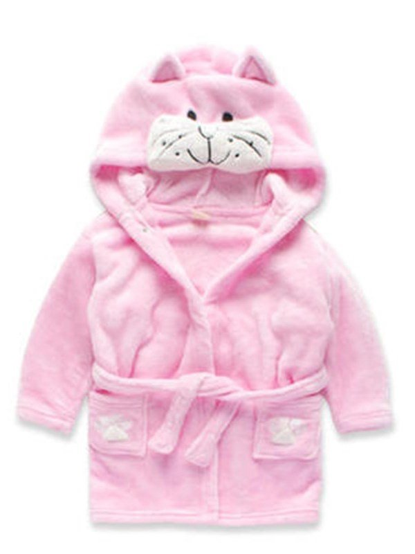Cute Cat Shaped Polyester Pink 1-Piece Kids Robe
