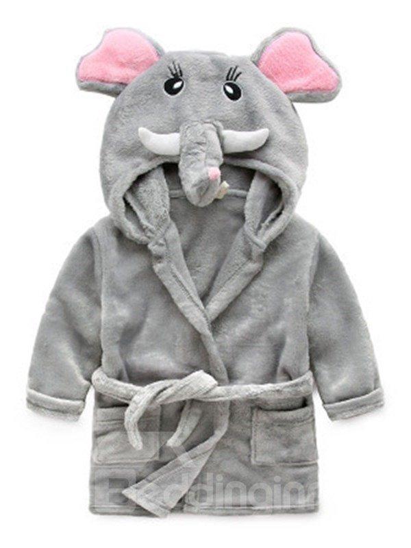 Gray Elephant Shaped Polyester 1-Piece Kids Robe