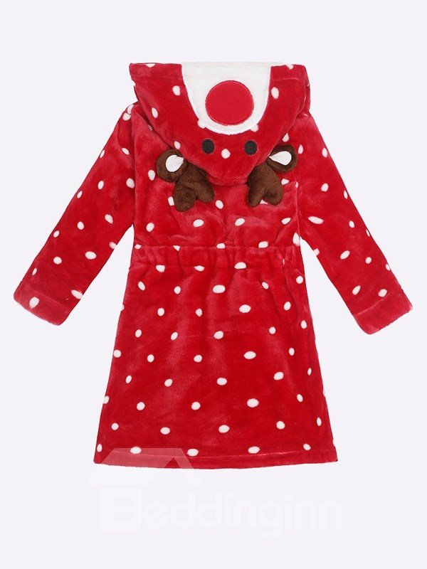 Christmas Deer Shaped Polyester Red 1-Piece Kids Robe