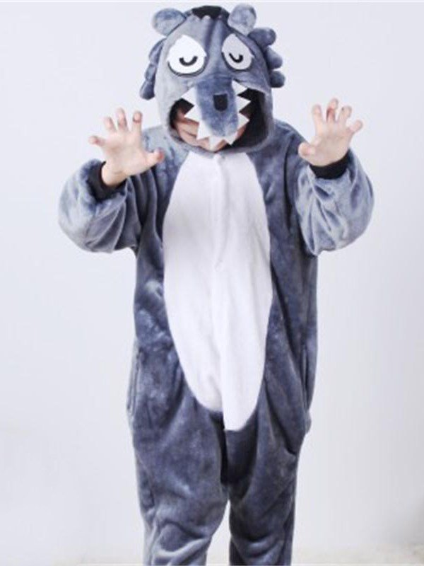 Big Gray Bear Shaped Flannel 1-Piece Kids Pajama