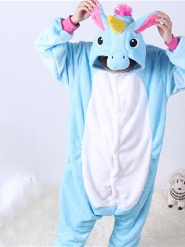Light Blue Horse Shaped Flannel 1-Piece Kids Pajama