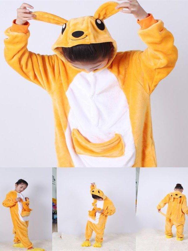 Yellow Kangaroo Shaped Flannel 1-Piece Kids Pajama