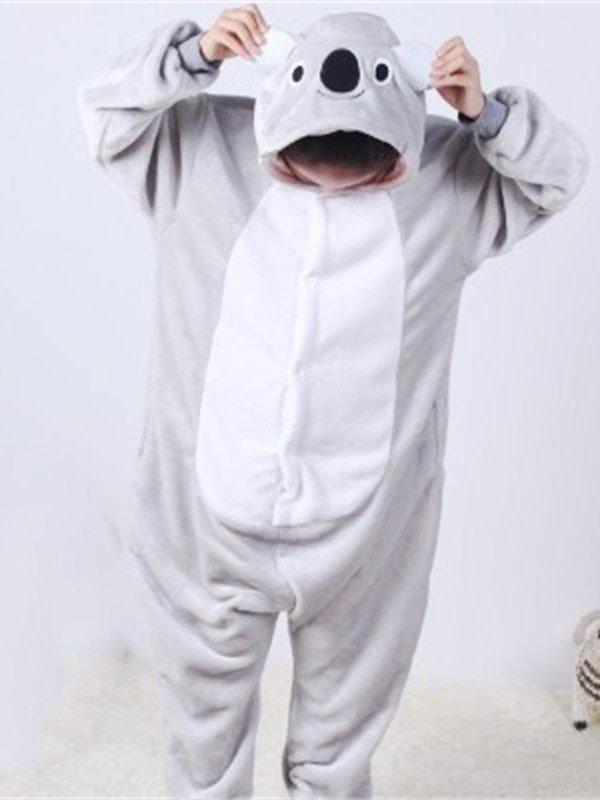 Gray Little Koala Shaped Flannel 1-Piece Kids Pajama