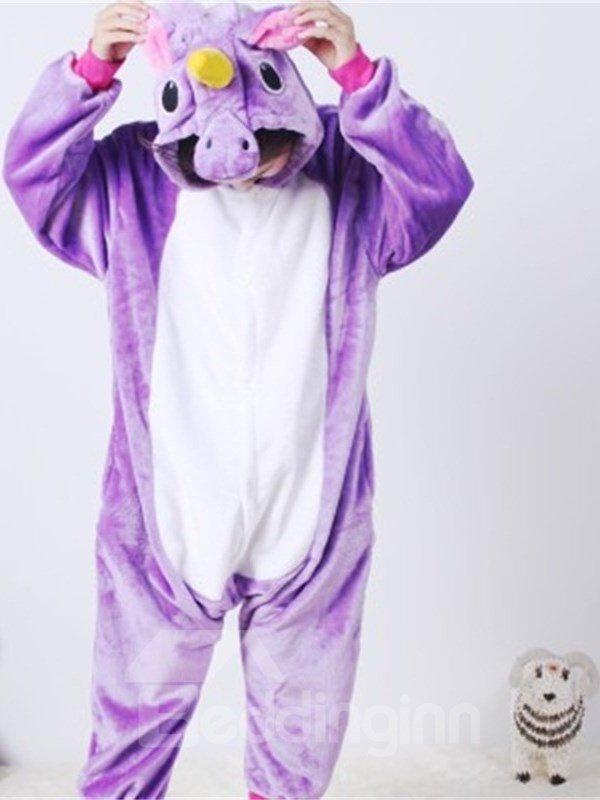 Purple Horse Shaped Flannel 1-Piece Kids Pajama