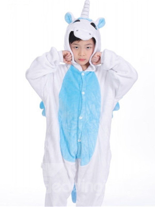 Unicorn Shaped Flannel White and Blue 1-Piece Kids Pajama