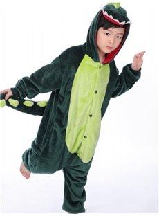 Green Dinosaur Shaped Flannel 1-Piece Kids Pajama