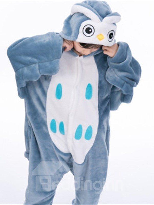 Little Blue Owl Shaped Flannel 1-Piece Kids Pajama