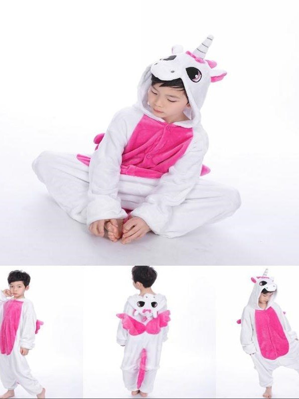 Little Unicorn Shaped Flannel White and Rose Red 1-Piece Kids Pajama