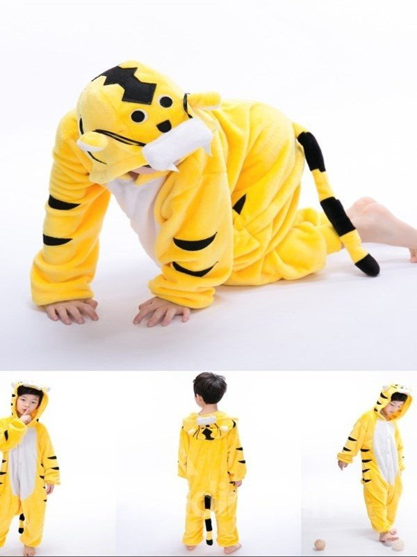 Tail Decoration Tiger Shaped Flannel Yellow 1-Piece Kids Pajama