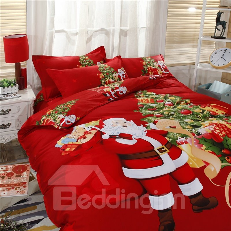 Santa Claus Delivering Gifts Red Cotton 4-Piece Merry Christmas Bedding Sets/Duvet Cover