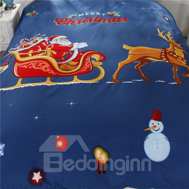 Santa Claus Riding Sledge and Deer Cotton 4-Piece Christmas Bedding Sets/Duvet Cover