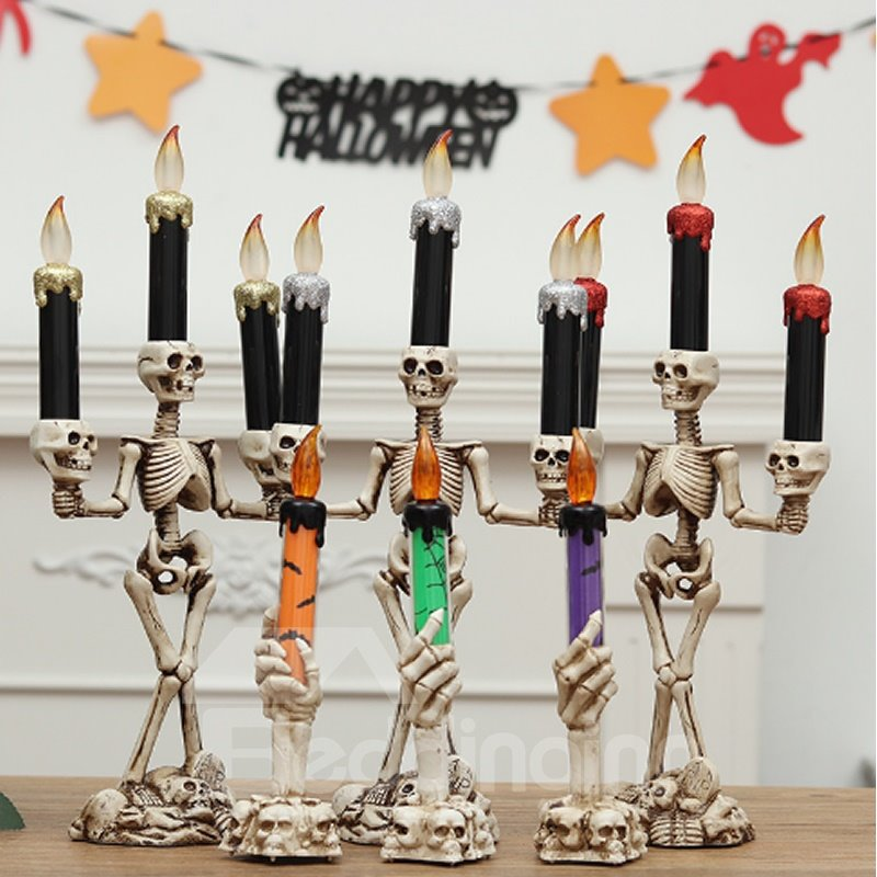 Led Light Candle Skull Halloween Ghost House Decor
