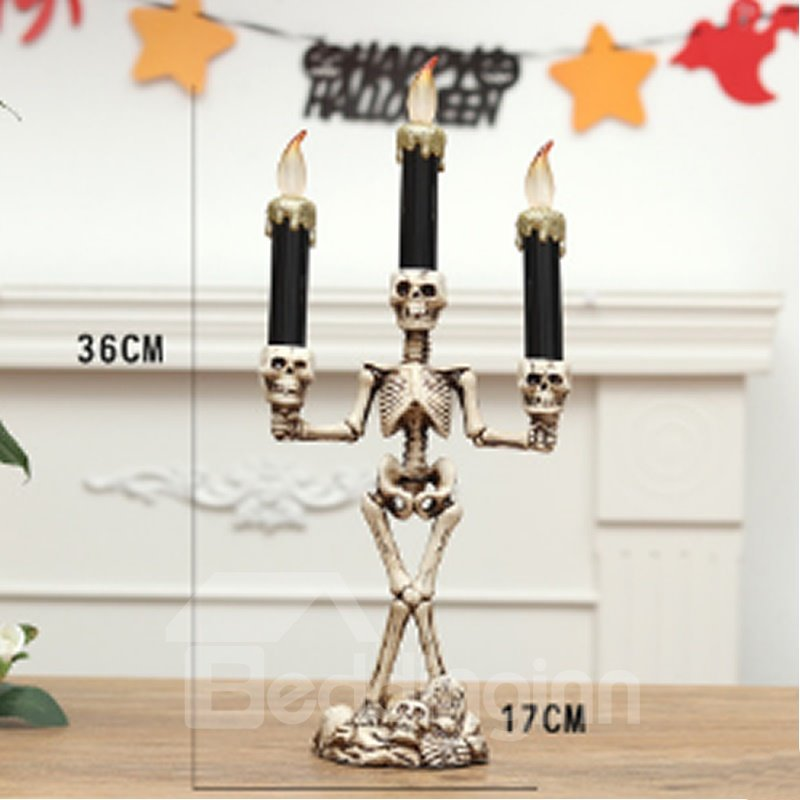 Led Light Candle Skull Halloween Ghost House Decor