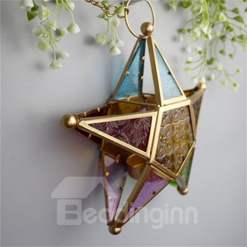 Morocco Style Creative Colorful Star Iron and Glass Home Decoration Candle Holder