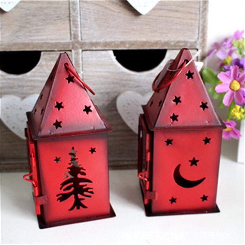 Red Christmas House Iron Home Decoration Articles Gifts Candle Holder