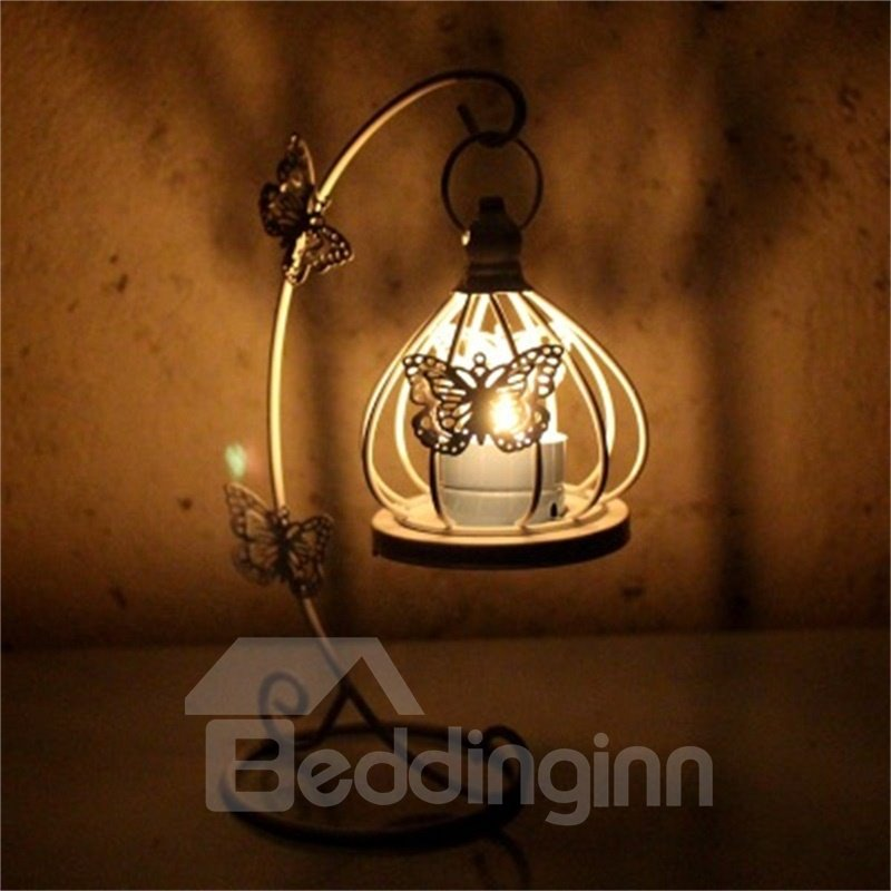 European Style White Iron Basket Creative Home Decorations Candle Holder