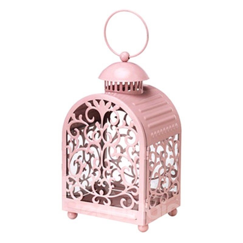 European Style Pink Hollowed-out Flower Retro and Creative Romantic Candle Holder