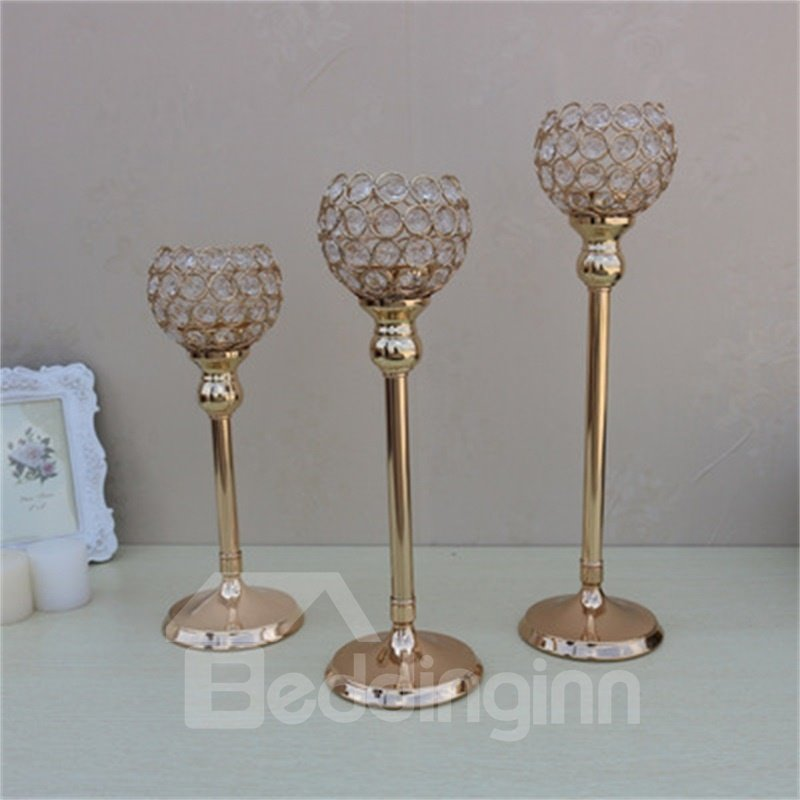 Modern Style Brown Metal Handicrafts Goblet Romantic and Creative Candle Holder