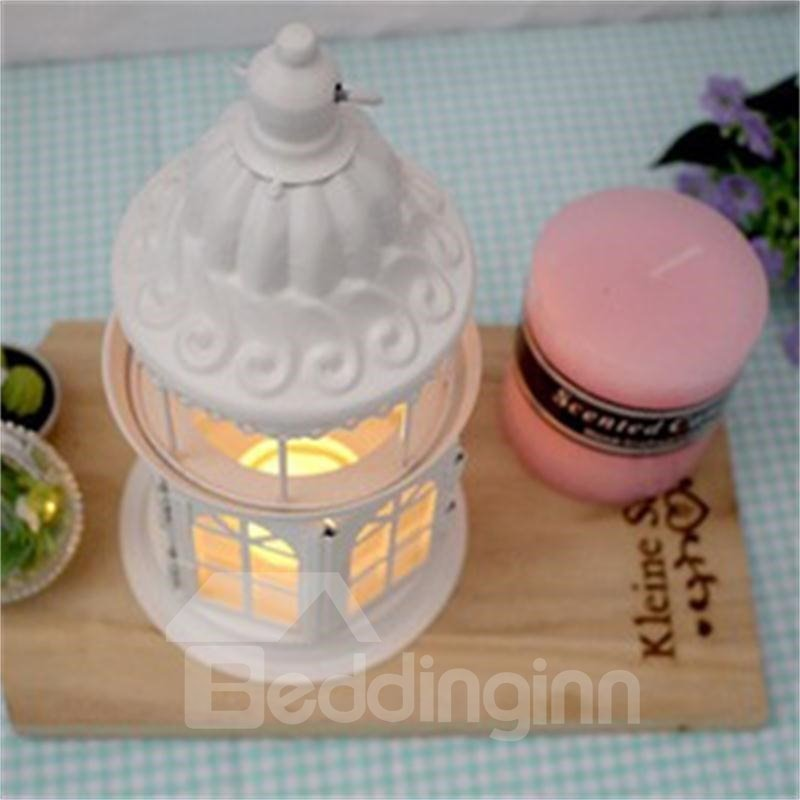 Retro European Morocco Style Iron Glass Lantern Candle Holder