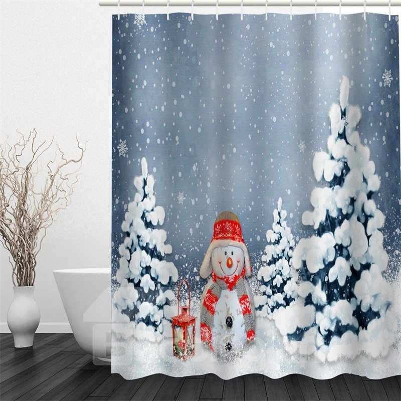 3D White Snow Snowman Printed Polyester Waterproof Antibacterial Eco-friendly Shower Curtain