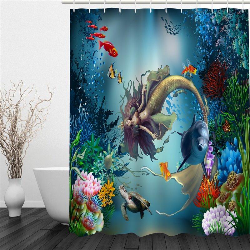 3D Mermaid Printed Polyester Waterproof Antibacterial Eco-friendly Shower Curtain