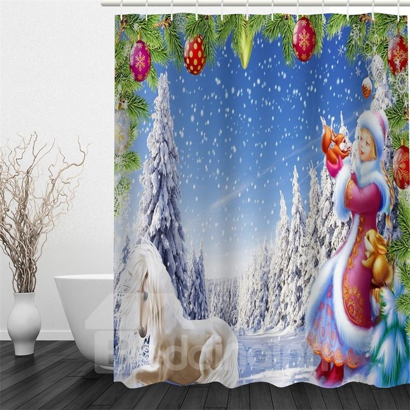 3D Horse Balls Polyester Waterproof Antibacterial Eco-friendly Shower Curtain