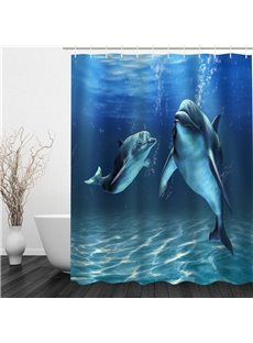 3D Blue Ocean Dolphins Printed Polyester Waterproof Antibacterial Eco-friendly Shower Curtain