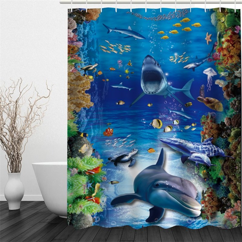 3D Fishes Dolphins Printed Polyester Waterproof Antibacterial and Eco-friendly Shower Curtain