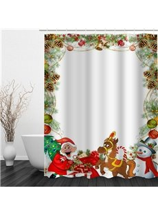 3D Christmas Father Gifts Deer Polyester Waterproof Antibacterial and Eco-friendly Shower Curtain