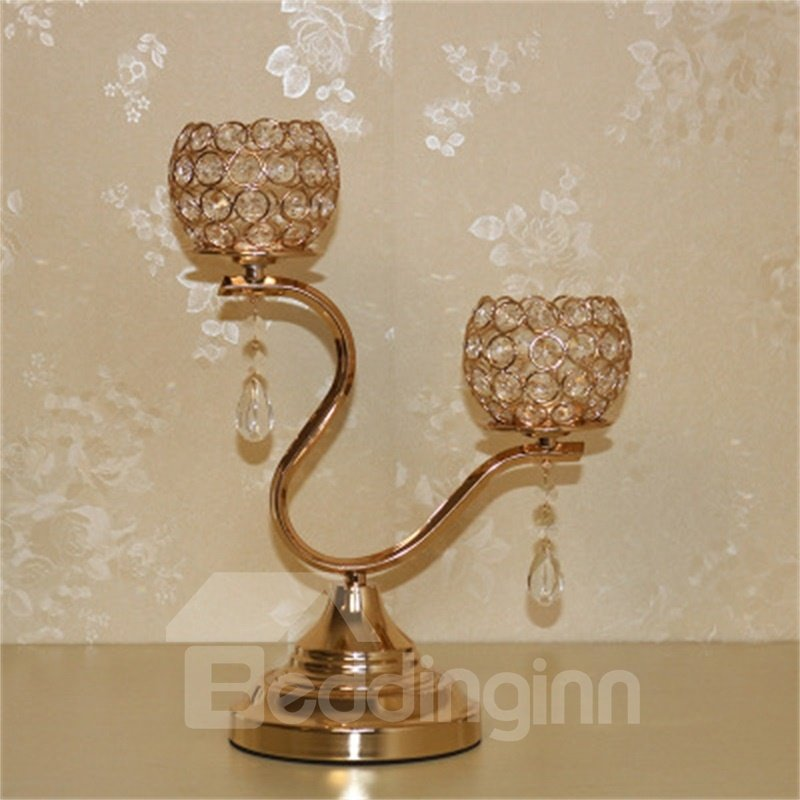 Wonderful Transparent Crystal Candle Holder European Style Home and Hotel Decoration