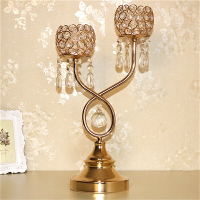 Bright Golden European Style Transparent Crystal Candle Holder with Pendant