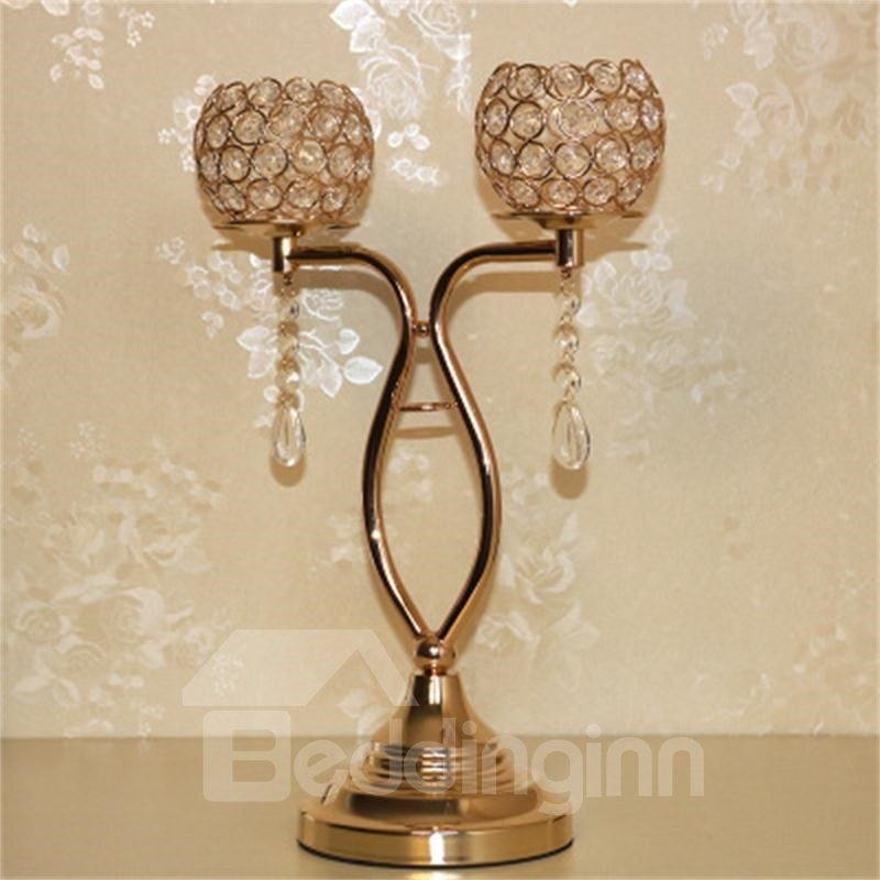Bright Golden Creative and Concise Style Flowers Candle Holder