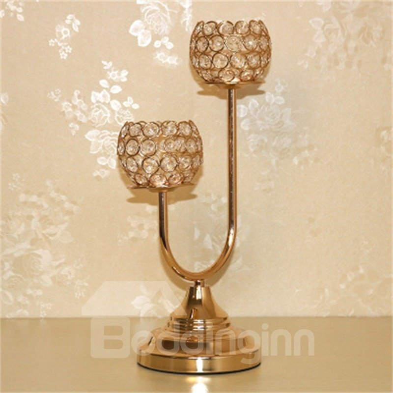 European Metal Iron Handicraft Home Decoration Golden Crystal Candle Holder