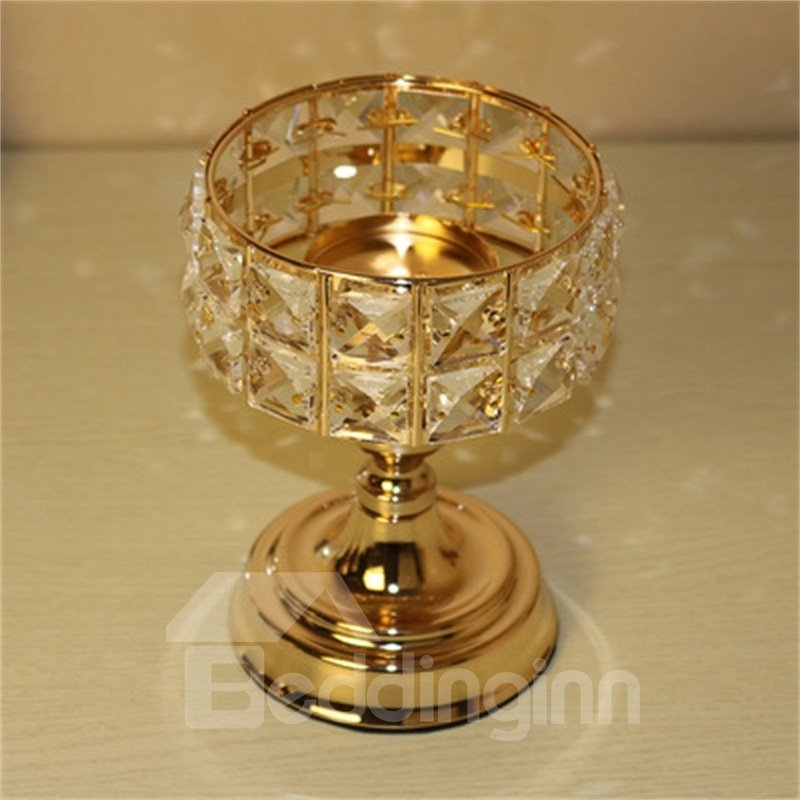 European Style Bright Golden Transparent Crystal Home Decoration Candle Holder